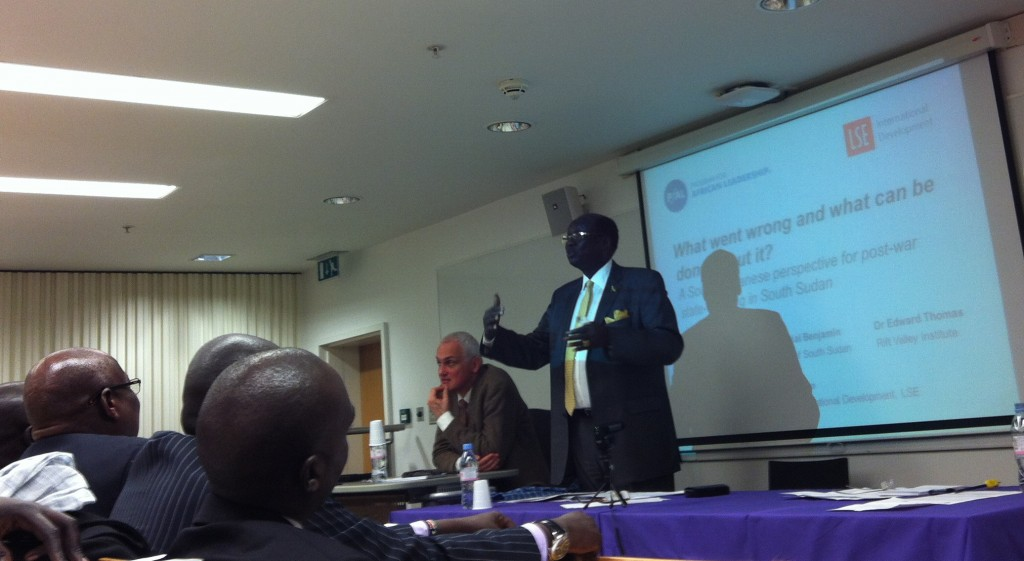 Foreign Minister of South Sudan, Dr. Barnaba Marial Benjamin, speaks to full audience in the Wolfson Theatre, LSE