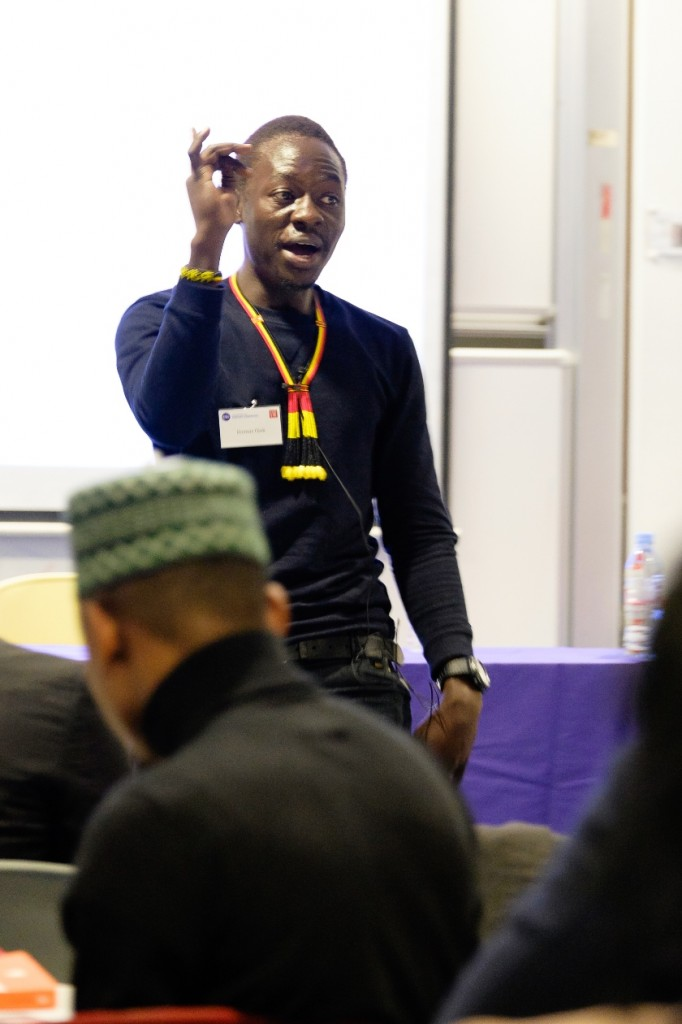 Donnas Ojok (PfAL4, Uganda) performs his poem during the PfAL@LSE launch