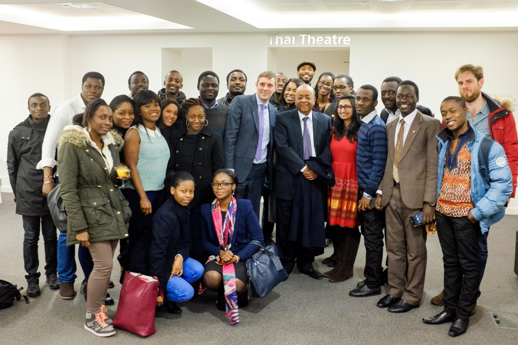 Some of the PfAL@LSE group with Dr Mo Ibrahim after his talk